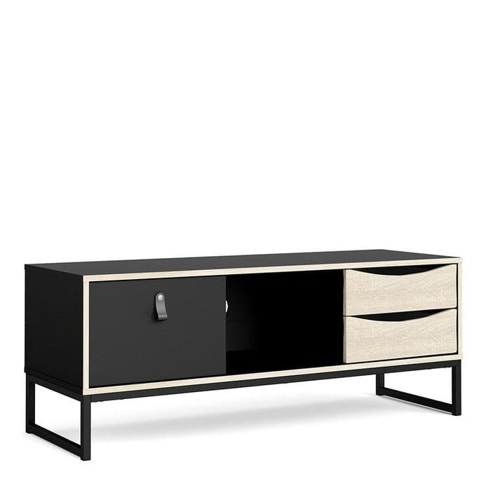 Stubbe TV Unit in Matte Black & Oak Finish