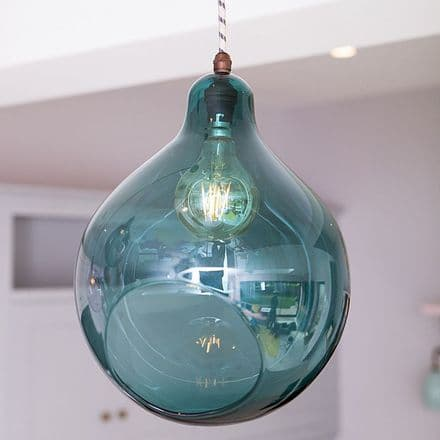 Teal Blue Glass Globe Pendant Light