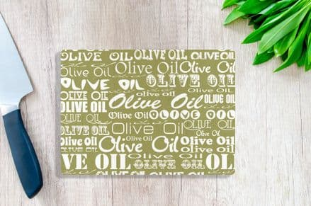 Tempered Glass Chopping Board with Olive Oil Design