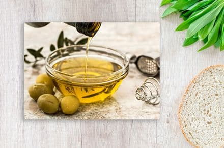 Tempered Glass Chopping Board with Olives & Olive Oil