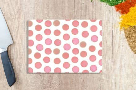 Tempered Glass Chopping Board with  Pink Dots Design