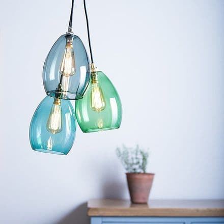 Triple Glass Cluster Pendant Light - Your Choice of Colours!
