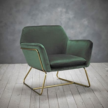 Velvet Cocktail Lounge Chair in Racing Green