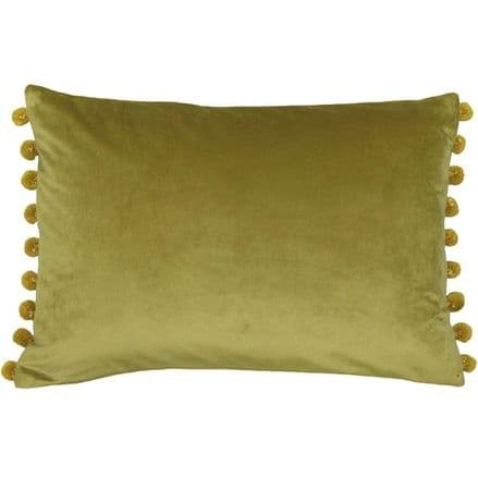 Velvet Pom Pom Cushion Cover Bamboo Green