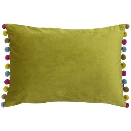 Velvet Pom Pom Cushion Cover Bamboo Multi