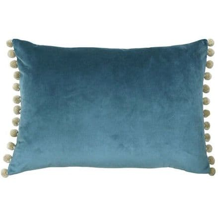 Velvet Pom Pom Cushion Cover Duck Egg Blue