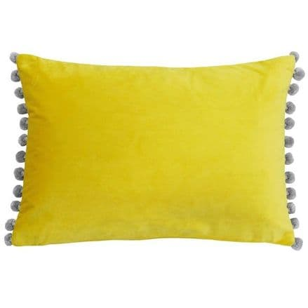 Velvet Pom Pom Cushion Cover Mimosa Yellow