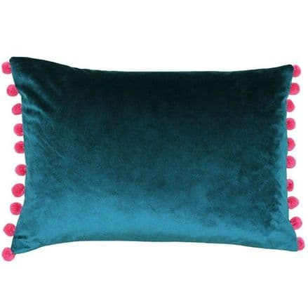 Velvet Pom Pom Cushion Cover Teal Blue