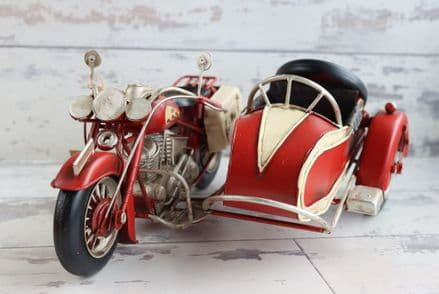 Vintage Motorbike with Sidecar Metal Model
