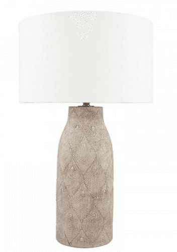 Matt Grey Feather Stoneware Table Lamp & 40cm White Handloom Cylinder Shade