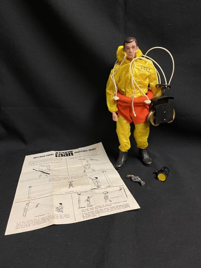 VINTAGE ACTION MAN  - NAVY BREECHES BUOY Dressed Figure