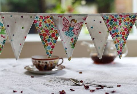 Fairy Princess Cotton Mini Bunting (Price inc P & P) with 14 Flags