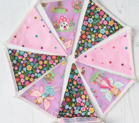 Pink Fairy Cotton Mini Bunting (Price inc P & P) with 14 Flags