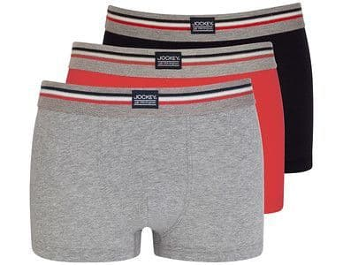 JOCKEY 3 PACK SHORT TRUNK / STONE GREY - RED - NAVY