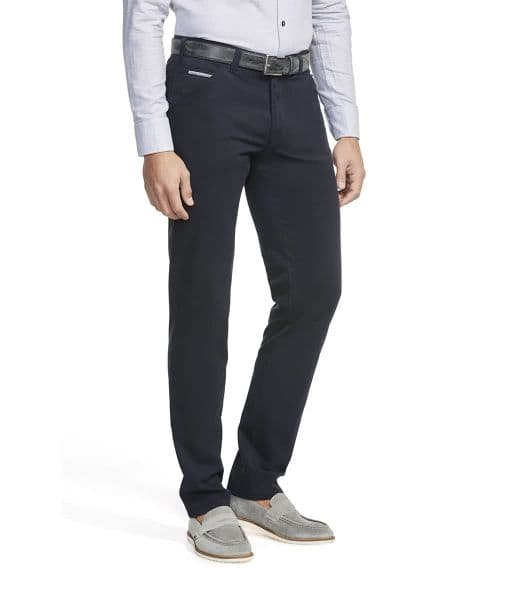 MEYER CHINO COTTON TROUSERS /  NAVY