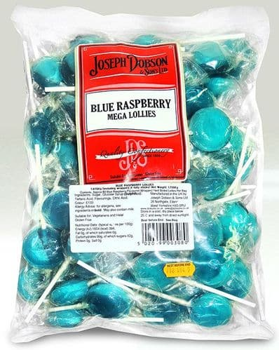 DOB27 DOBSONS WRAPPED BLUE RASPBERRY MEGA LOLLIES x80