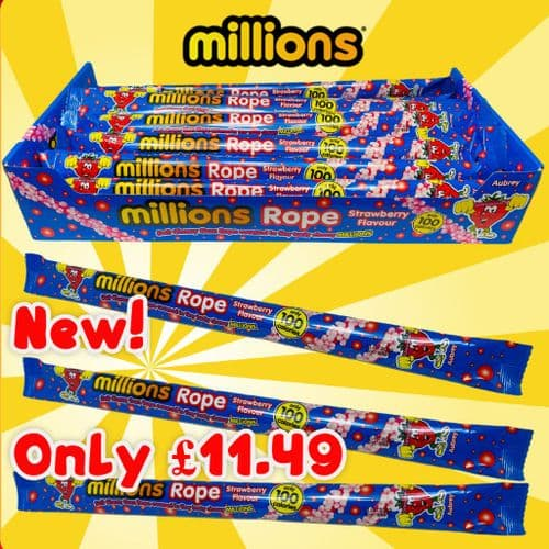 MILLIONS ROPE STRAWBERRY  28g x 20