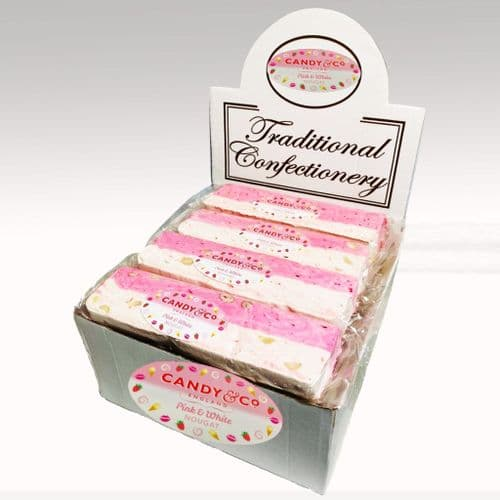 PINK AND WHITE NOUGAT BARS 16 x110g