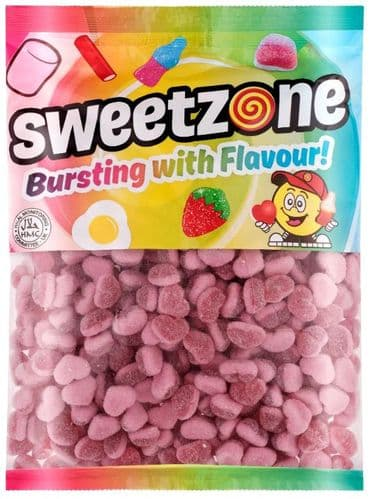 SWEETZONE FIZZY STRAWBERRY HEARTS 1KG