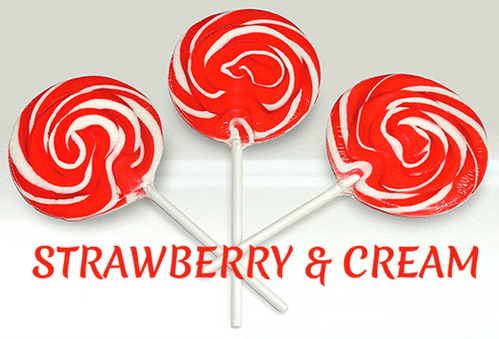 SWIRLY ROCK LOLLIPOPS STRAWBERRY AND CREAM FLAVOUR. 24x85g (100mm)
