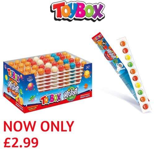 TOYBOX  MARBLE GUM BALL STRIPS (10 balls) x24