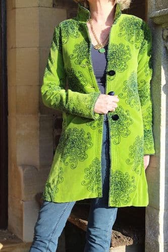 BEETLE COAT GREEN WITH NAVY PRINT WAS £195 NOW  ONLY XS (6/8) LEFT