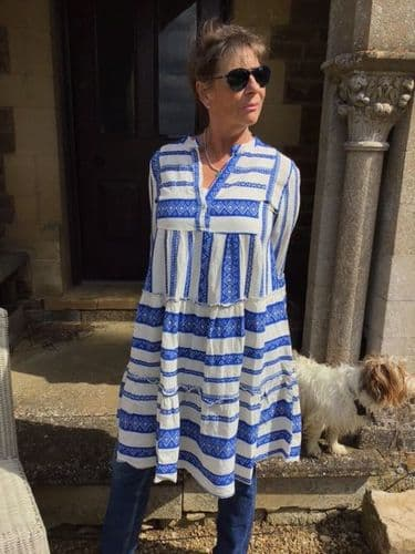 PEASANT DRESS  BLUE AND WHITE £85 20% off today