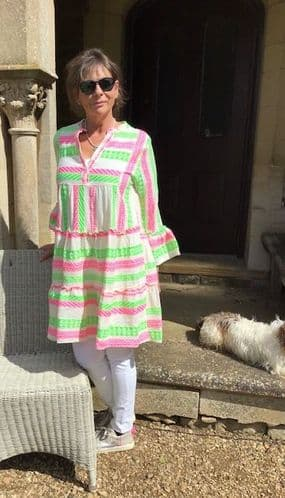 PEASANT DRESS NEON PINK AND GREEN £85 Today 20% off now