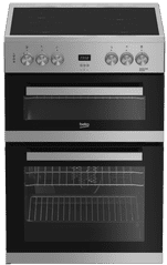 Beko EDC633S 60cm Electric Double Oven with Ceramic Hob - Silver