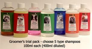 Groomers Trial Pack - 4 x 100ml (400ml when diluted) shampooos and 2 conditioners (1,000ml when diluted)
