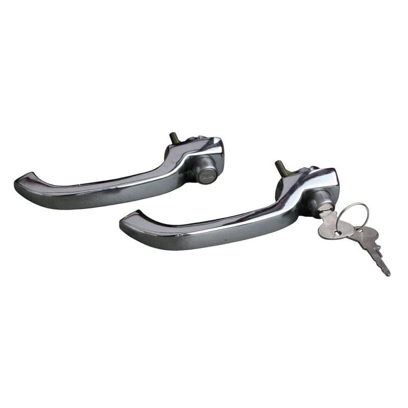 A pair of cab door handles with matching keys VW Type 2 split screen 1963 to 1967