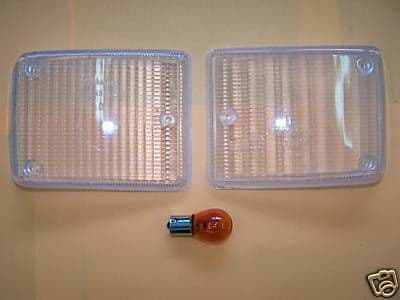 Clear Indicator lenses with amber bulbs for the front  of a VW Type 2 1973-1979