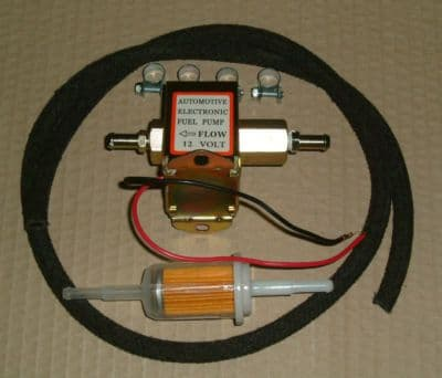 Electronic fuel pump, solid state (Facet Style) with pipe filter and clamps