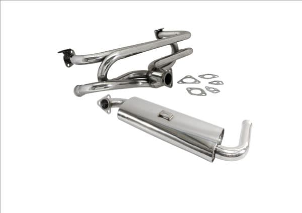 Single quiet pack with 4 into 1 header in stainless steel VW Type 1 and Type 2