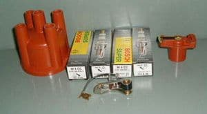 Spark plugs, points, rotor arm, and distributor cap VW Beetle and Type 2