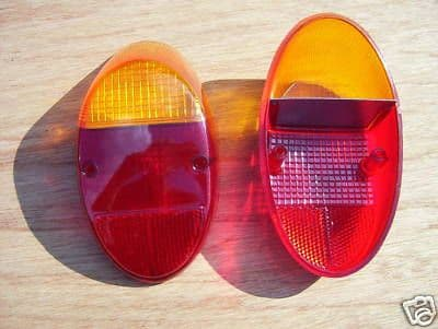 VW T1 rear light lenses up to 67 & 1200cc up to 73, standard Amber and Red