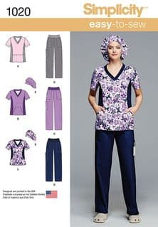 1020 Simplicity Pattern: Misses' and Plus Size Scrubs
