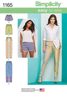 1165 Simplicity Pattern: Misses' Pull on Trousers, Long or Short Shorts