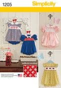 1205 Simplicity Pattern: Babies' Dress and Pants