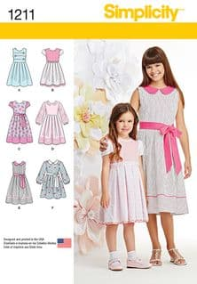1211 Simplicity Pattern: Child's and Girls' Dress in Two Lengths