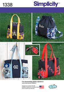 1338 Simplicity Pattern: Tote Bags in 3 Sizes, Backpack and Coin Purse