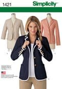 1421 Simplicity Pattern: Misses' Unlined Jacket with Collar and Finishing Variations