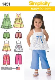 1451 Simplicity Pattern: Toddlers' Dresses, Top, Cropped Trousers and Shorts