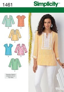 1461 Simplicity Pattern: Misses' and Plus Tunic with Neckline and Sleeve Variations