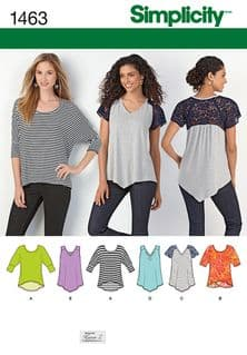 1463 Simplicity Pattern: Misses' Knit Tops