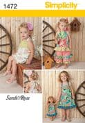 "1472 Simplicity Pattern: Toddlers' Romper, Dress, Top Trousers & 45cm (18"") Doll Dress"