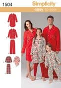 1504 Simplicity Pattern: Child's, Teens' and Adults'  Loungewear