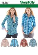 1538 Simplicity Pattern: Misses' Button Front Shirt