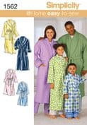 1562 Simplicity Pattern: Child's, Teens' and Adults' Dressing Gown and Belt