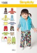 1566 Simplicity Pattern: Babies' Separates including Dungarees and Jacket